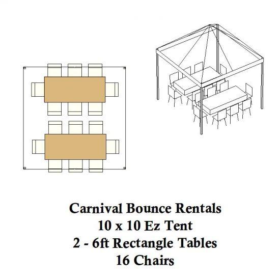 10 x 10 ez up pop up rectagle tables tent party rental michigan