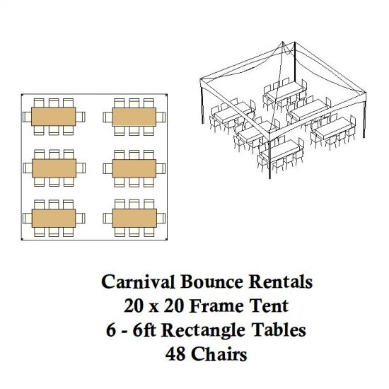 20 x 20 frame tent rectagle tables chairs party rental michigan