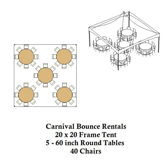 20 x 20 frame tent round tables chairs party rentals michigan