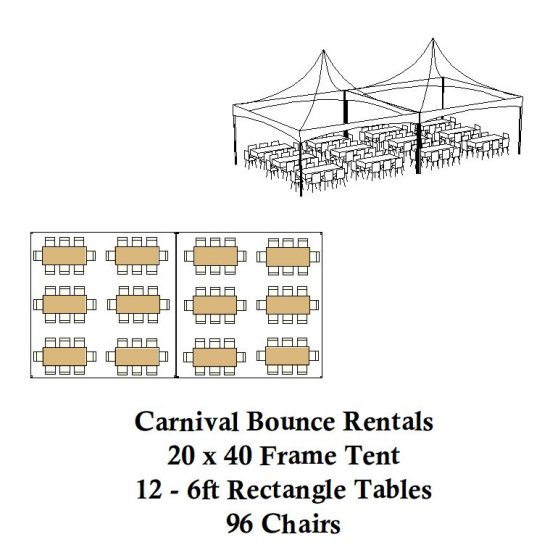 20 x 40 frame tent rectagle tables chairs party rental michigan
