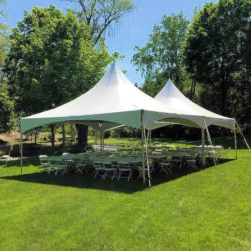 20 x 40 frame tent rectagle tables chairs party rentals in michigan