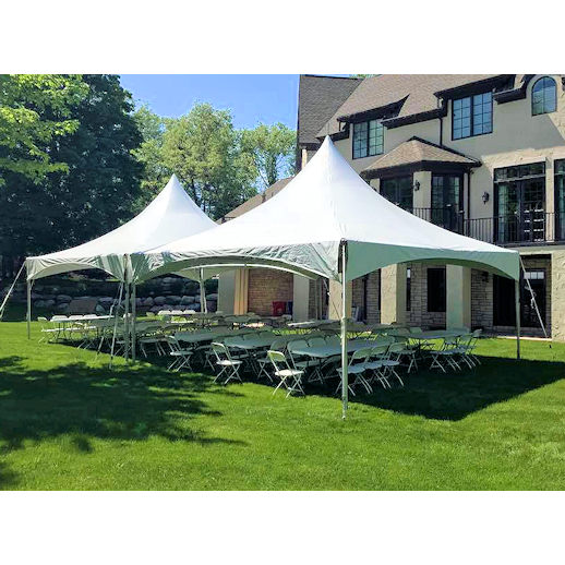 20 x 40 frame tent rectagle tables chairs party rentals michigan