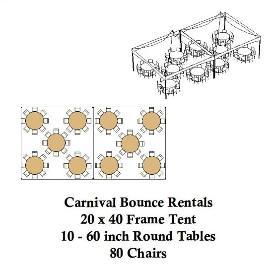 20 x 40 frame tent round tables chairs party rentals michigan