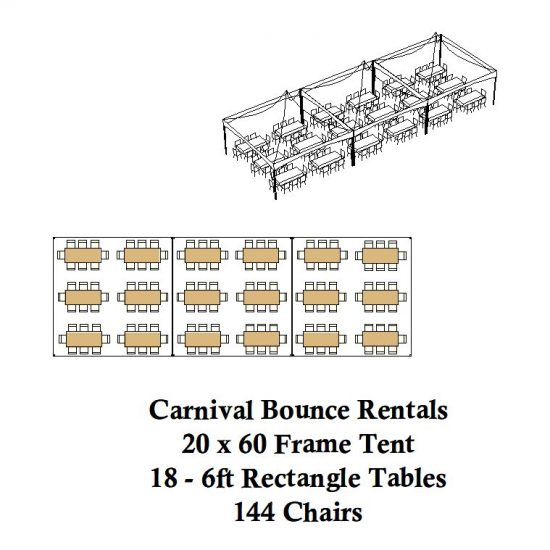 20 x 60 frame tent rectagle tables chairs party rental michigan