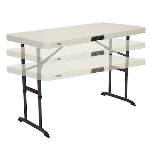 4 foot adjustable hight folding table party rental in michigan