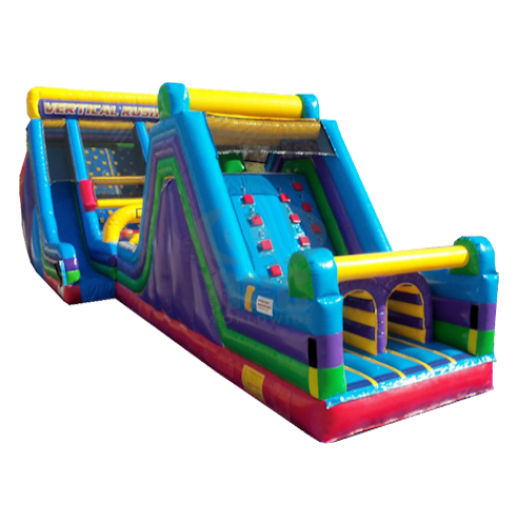 90 foot obstacle 16 rock slide vertical rush combo inflatable obstacle course rental michigan