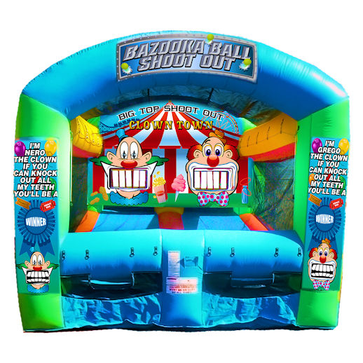Bazooka Ball Shootout Carnival Clown Shooting Gallery Inflatable interactive carnival game rental michigan