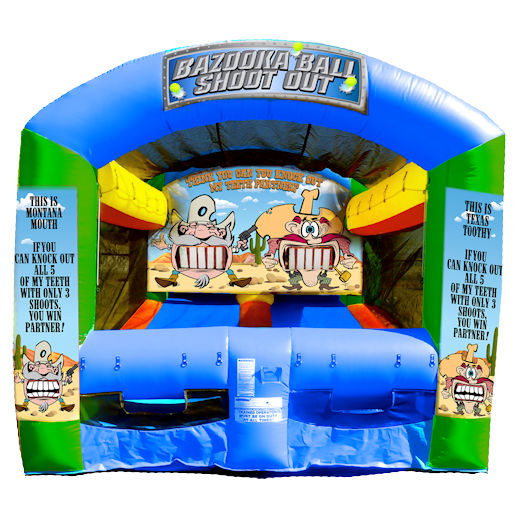 Bazooka Ball Shootout Western Shooting Gallery Inflatable interactive carnival game rental michigan