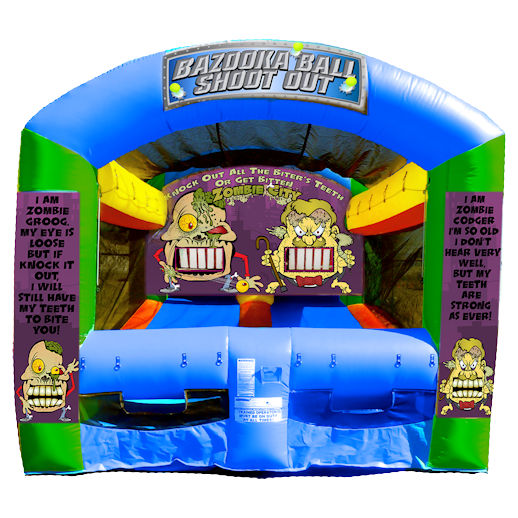 Bazooka Ball Shootout Zombie Shooting Gallery Inflatable interactive carnival game rental michigan