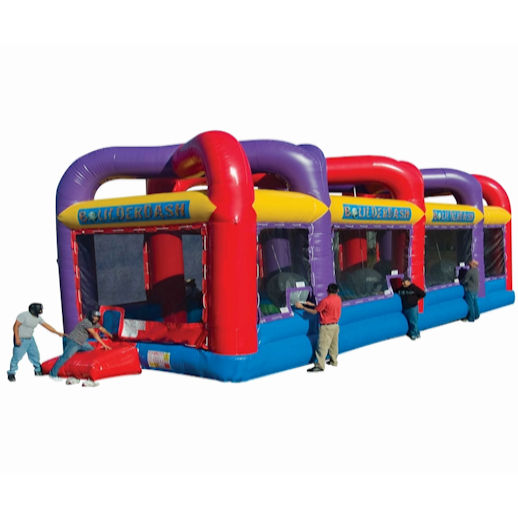 Boulderdash Interactive wrecking ball inflatable bounce house moonwalk party rental michigan