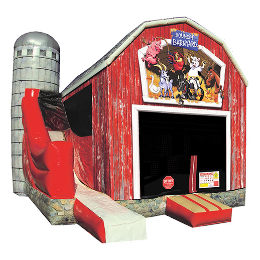 Bouncin Barnyard Combo party rental michigan moonwalk