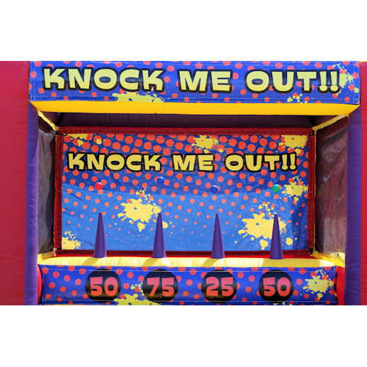 Knock Me Out toss carnival game interactive inflatable bounce house moonwalk party rental michigan