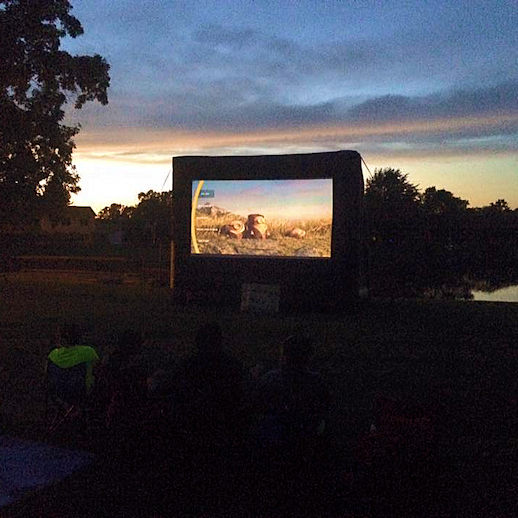 Outdoor inflatable movie movies screen detroit southeastern farmington hills michigan