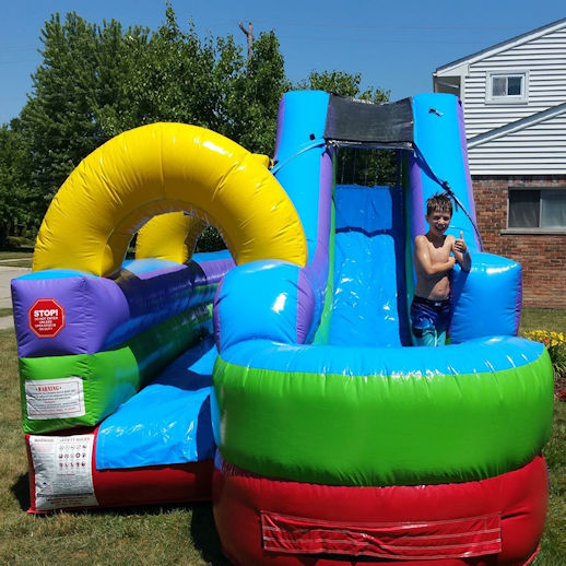 Slip and slide water slide combo inflatable rental michigan