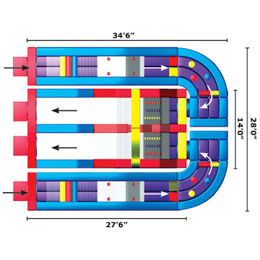 The Ultimate Module Challenge schematic infltable obstacle course Rental Michigan