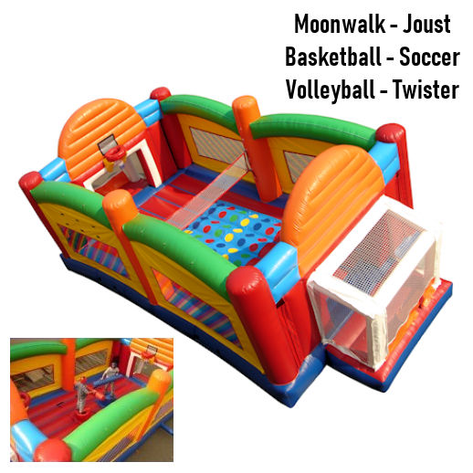 Ultimate Sports Arena Inflatable Interactive Joust volleyball basketball soccer twister bounce house party rental moonwalk michigan