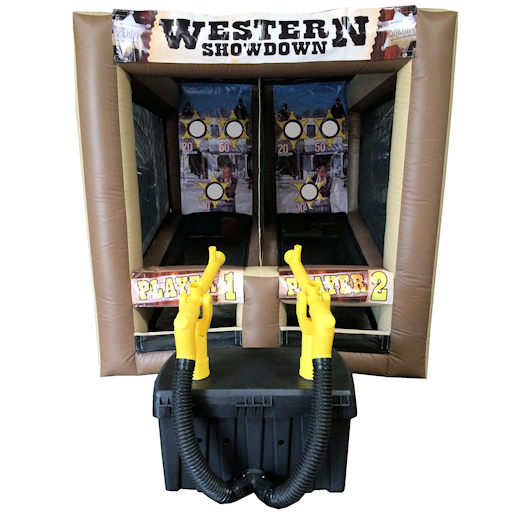 Western Shooting Gallery cannonball air blaster inflatable party rentals michigan