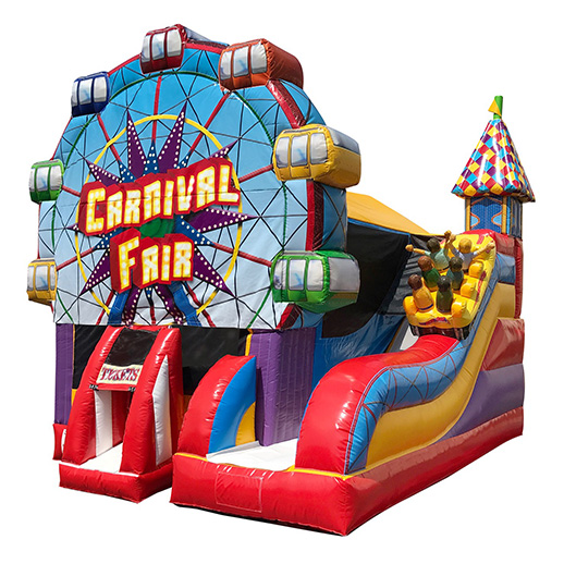 Carnival theme inflatable bounce house moonwalk michigan rental